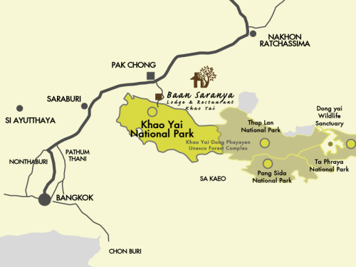 Our resort map location in Khao Yai national park area.
