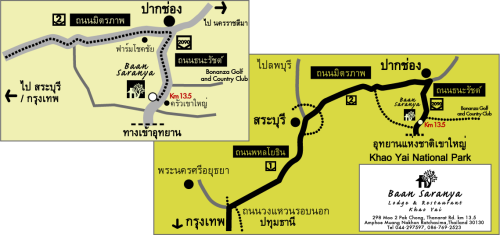Thai map location, Baan Saranya Lodge Khao Yai